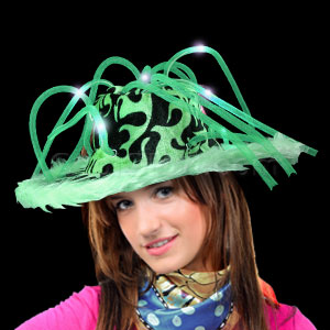 LED Furry Pimp Hat - Green