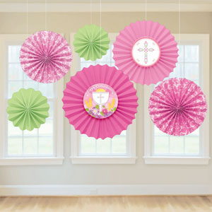 Pink Communion Decorative Fan- 6ct