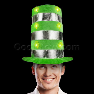 Fun Central AD158 LED Light Up Shamrock Top Hat