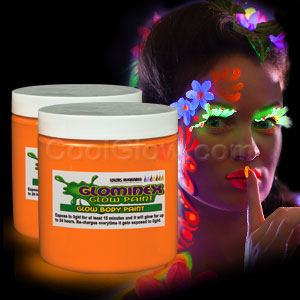 Glominex Glow Body Paint 8 oz Jar - Orange