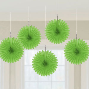 Mini Hanging Fan Decor- Green 5ct