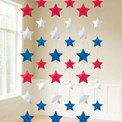 Assorted 7 Foot Patriotic Strings of Stars- 6ct