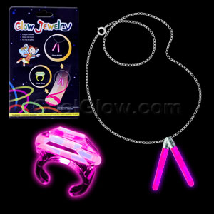 Glow Ring and Anklet Set - Pink