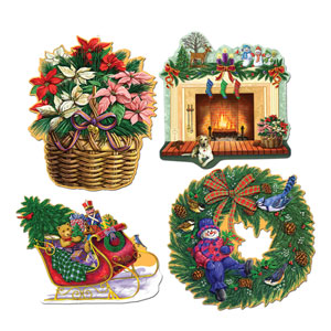 Christmas Holiday Cutouts - 4ct