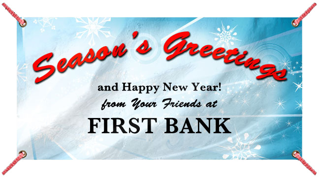 Light Blue Snow Burst 'Seasons Greetings'- Custom Banner