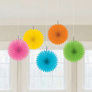 Multicolored Mini Hanging Fan Decor- 5ct