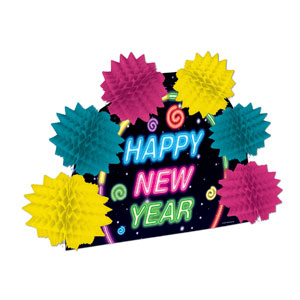 Neon Happy New Year Pop-Over Centerpiece - 10in