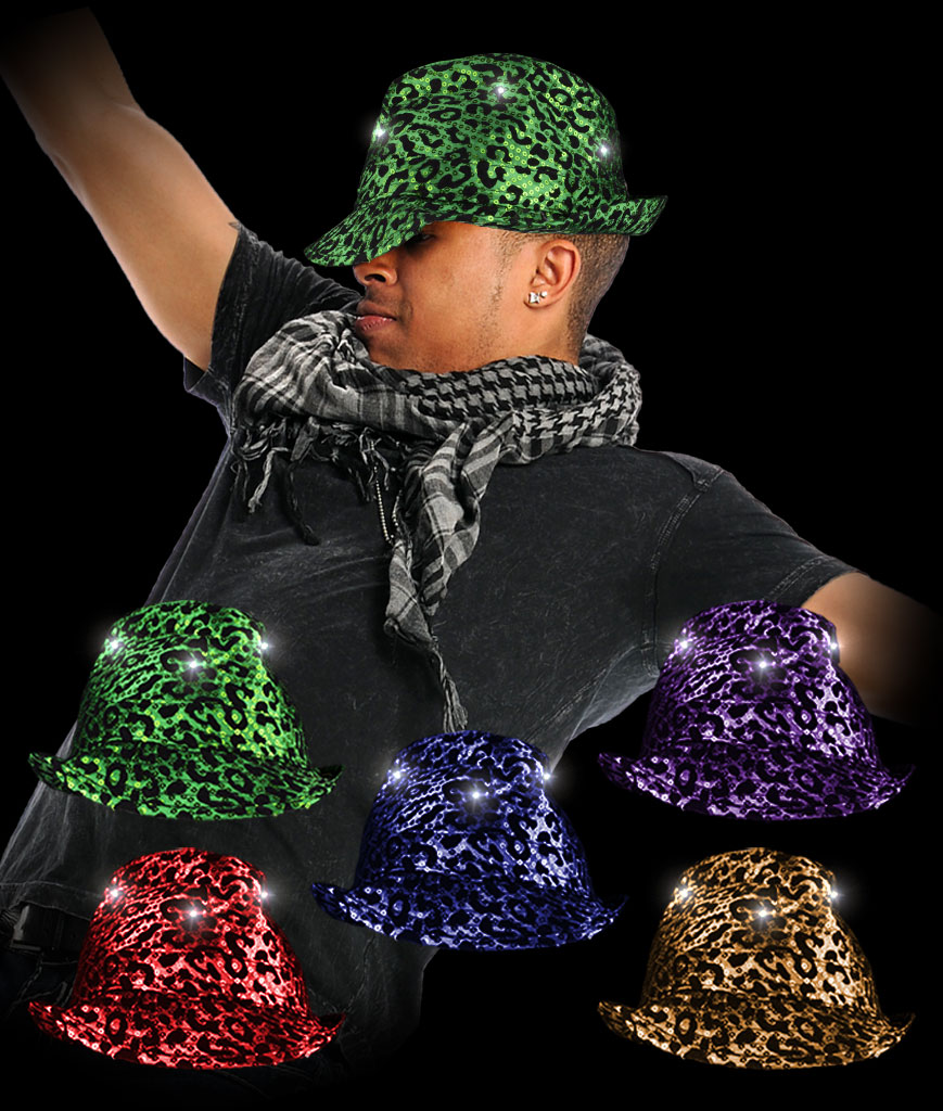 LED Leopard Sequin Fedora- Assorted