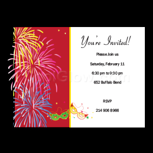 Red Fireworks - Custom Invitations