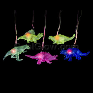Fun Central AC910 LED Light Up Jelly Dinosaur Necklaces - Assorted