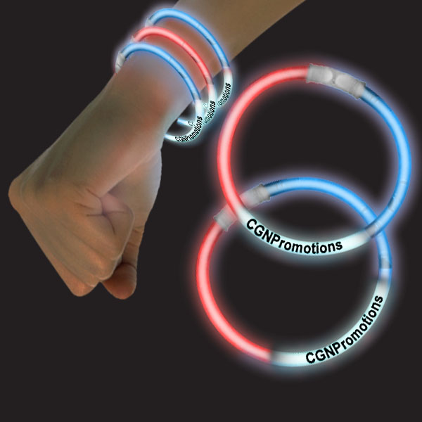 8 Inch Glow Bracelets - Red-White-Blue