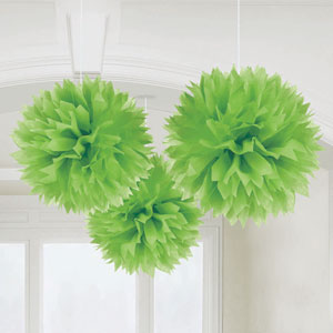 Fluffy Decorations- Green 3ct