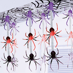 Spider Frenzy Foil Ceiling Decor- 10ft