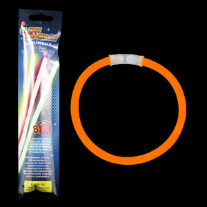 8 Inch Retail Packaged Glow Bracelets - Orange