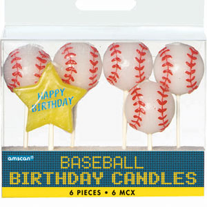 Baseball Birthday Candle Picks- 6ct
