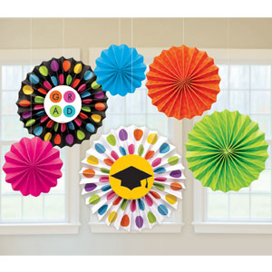 Colorful Commencement Grad Paper Fan Decorations- 6pc