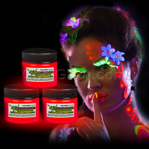 Glominex Glow Body Paint 1 oz Jar - Red