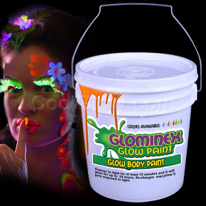 Glominex Glow Body Paint 128oz Bucket - Orange