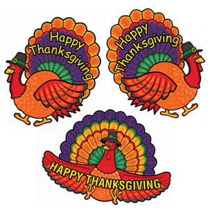 Happy Thanksgiving Cutouts- 3ct