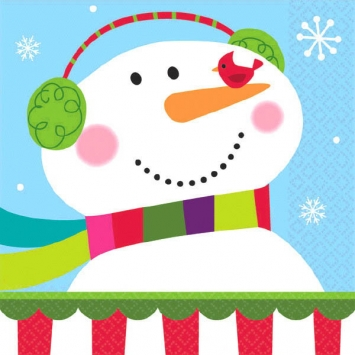 Joyful Snowman Beverage Napkins