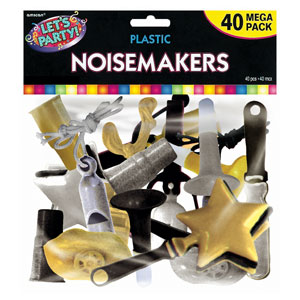 Gold Silver & Black Plastic Noisemakers- 40ct