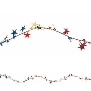 Patriotic Prismatic Star Wire Garland - 18ft