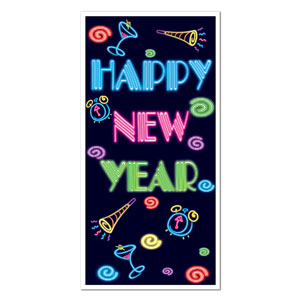 Neon Happy New Year Door Cover - 5ft