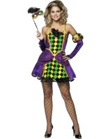 Mardi Gras Queen Adult Costume - Small/Medium