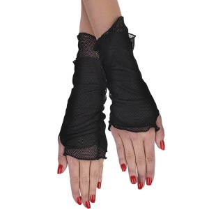 Fishnet Glovelettes - Black / One Size