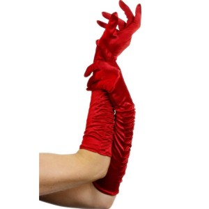 Temptress Long Red Gloves - Red / One-Size