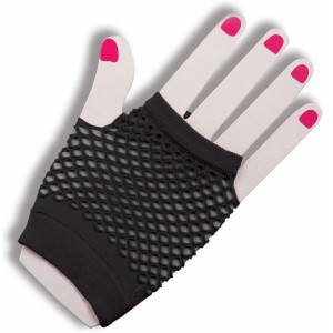 80's Black Short Fishnet Adult Gloves - Black / One Size