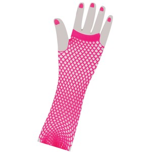 80's Neon Pink Long Fishnet Adult Gloves - Pink / One Size