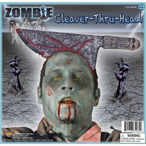 Zombie Cleaver Thru Head Adult - Gray / One-Size