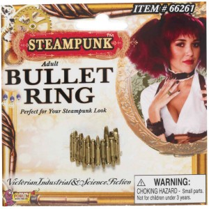 Steampunk Bullet Ring Adult - Gold / One-Size