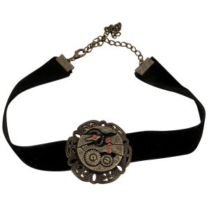 Steampunk Black Velvet Antique Gear Choker Adult - Brown / One-Size