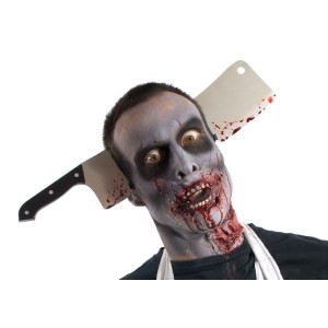 Zombie Cleaver Thru Head - Gray / One-Size