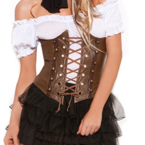 Steampunk Adult Corset - Brown / 32