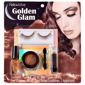 Hallow's Eve Golden Glam Makeup and False Eyelashes Kit Adult - Gold