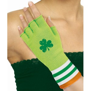 St. Patrick's Day Green Fingerless Gloves - Green/Orange / One-Size