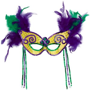 Mardi Gras - Feather Party Mask - Green/Purple/Yellow / One-Size