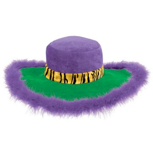 Mardi Gras Pimp Hat - Green/Purple/Yellow / One-Size