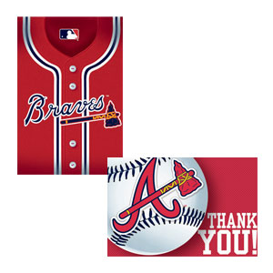 Atlanta Braves Invitations and Thank You Cards Set- 16ct