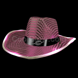 LED Sequin Cowboy Hat - Pink