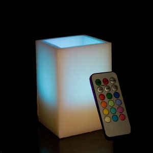 5 Inch Flameless Remote Control Square Pillar Candle - Multicolor