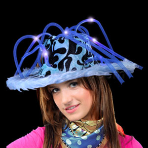 LED Furry Pimp Hat - Blue