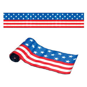 Satin American Flag Table Runner - 25ft