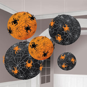 Spider Web Printed Lanterns- 5ct
