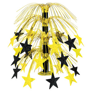 Black and Gold Star Cascade Centerpiece - 18in