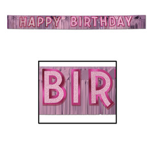Happy Birthday Pink Glitter Banner - 9 foot