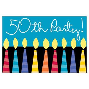 50 Candles Invitations - 8ct